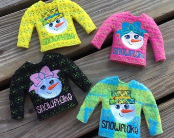 100% ITH - Snowflake - Snowman - Snowgirl - Doll Sweater - 2 Styles Included - 5 x 7 Only - Fleece is Suggested -  DIGITAL Embroidery DESIGN