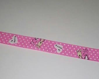 X 1 fuchsia white polka dot Bunny 15mm wide tape