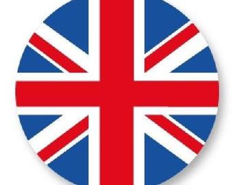 X 1 Cabochon flag English metal 25mm