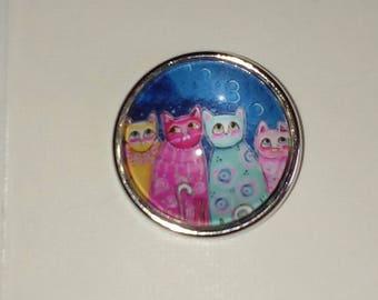 Snap glass Quartet of colorful cat 18mm