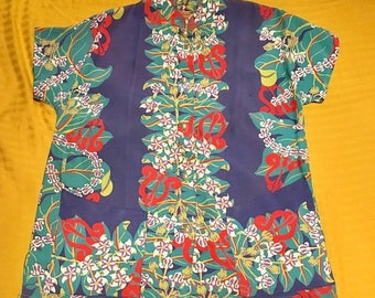 SALE 40s Kamehameha Silky Rayon Teatimer M