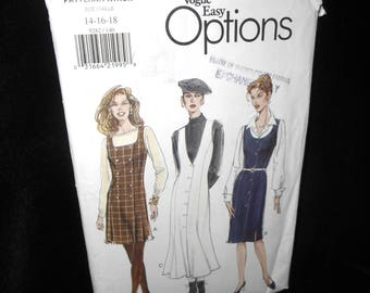 Misses Jumper Vogue 9282 Womens Jumper Size 14 16 18 Fitted Lined Flared Tapered Pattern