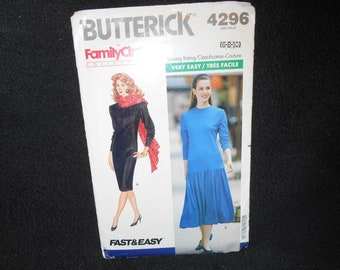 Misses Dress Butterick 4296 Womens Size 6-10 Very Easy Petite mid knee