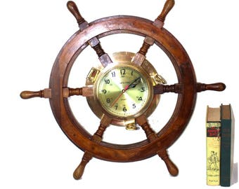Large Ships Wheel Wall Clock in Solid Brass and Wood Ships Porthole