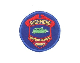 """Vintage Richmond Virginia RVA Ambulance Corps Embroidered Patch 3.5"""" x 3.5"""""""