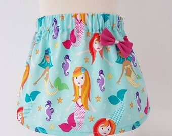 Mermaid skirt, mermaid party, pink bow, aqua skirt , girls skirt,  clothing, kids clothing, UK