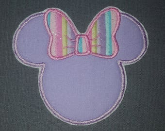 Mrs Misses Minnie Mouse Ears Rainbow Glitter  Bow Iron on No Sew Embroidered Patch Applique