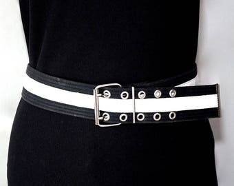 Vintage Black & White Belt,Webbing Fabric and Faux Patent Leather Grommet Belt,Gender Neutral Belt,Unisex Vegan Accessories,60s Mod Style,
