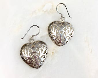 Vintage Sterling Cutout Heart Earrings