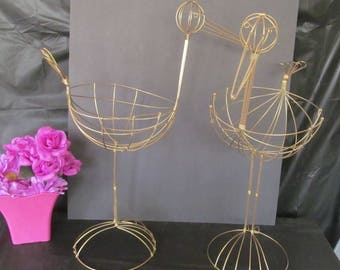"""Vintage Wire Storks - 20"""" Tall (Set of 2)  GOLD - Great for Baby Shower Decorations"""
