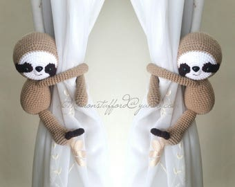 A pair of sloth Curtain Tiebacks,(Both sides)  MADE TO ORDER..