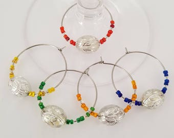 Drink Charm set of 5 / Beaded Rainbow / Silver