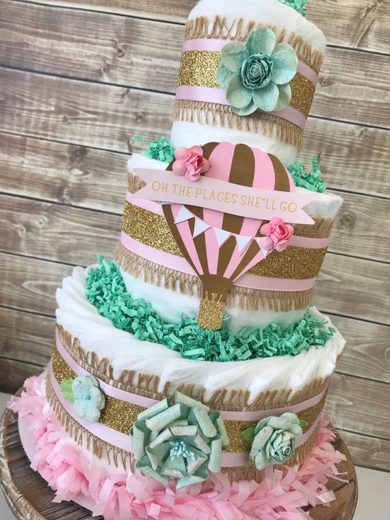 oh the places she 39 ll go hot air balloon diaper cake hot. Black Bedroom Furniture Sets. Home Design Ideas