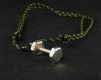 Crossfit dumbell pendant or keychein silver/ bronze / brass