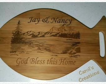 Cutting Board/Personalized Fish Shape Cutting Board/Personalized Cutting Board/Cheese Boar/ Engraved Cutting Board/Wood Cutting Boards/Fish