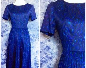 Vintage Pleated Dress Navy Blue