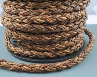 8MM Leather Braided Cord, 8MM Brown Bolo Leather, Basket Weave Leather, Excellent Quality All Leather, One Yard