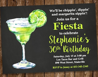 Margarita, Fiesta, Mexican, Birthday Party Invitation, Bridal Shower, Birthday, Invitation, Fiesta Party, Invite - Digital or Printed