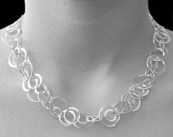 ON SALE NOW Silver Necklace, Statement Necklace, Sterling Silver Necklace, Circle Necklace, Classic Necklace, Links Necklace, Silver Rings N