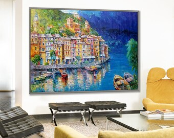 """Portofino Italy Art Painting 48x79""""/120x200cm Palette Knife Art Textured extra large Oil Painting"""