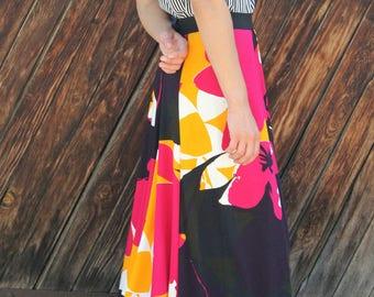 Floral skirt; Long Skirt; Maxi Skirt; Maxi Print Skirt;  Evening  Skirt; Multicolored Skirt; High Waisted Skirt