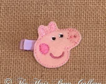 Pink Pig Hair Clip - Pink Pig Feltie Hair Clips -  Pink Pig Felt Hair Clip