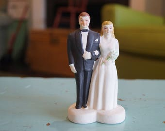 Vintage Bride and Groom Cake Topper-1940s Style