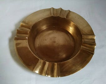 Large Vintage Heavy Brass Ashtray - Solid Brass Made In India
