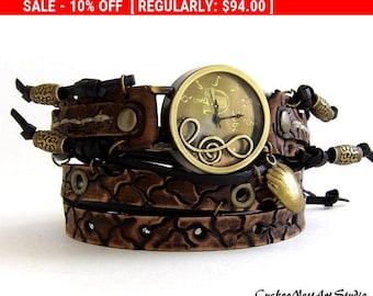 Musical note watch, Leather wrist watch, Hand tooled wrap watch, Musicians gift, Womens leather watch