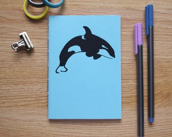Screen Printed Orca Handmade Notebook - Blank Pages - 40 Pages (80 sides) - 99x140mm