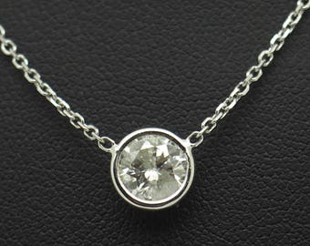 """14K White Gold 1.05ct G-I1 Round Cut Natural Diamond Bezeled Solitaire Necklace-18"""";sku # 4996"""
