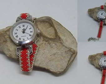 Red and silver woven bracelet watch