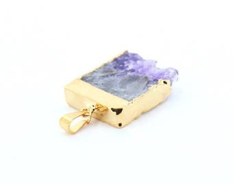 ON SALE Amethyst Stalactite Slice Pendant with 24k Gold Electroplate