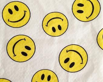 Vintage 70s Smiley Face Plissé Cotton Fabric