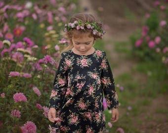 Girls Dress Floral Print Black Long Sleeve
