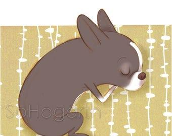 "Sleepy Boston Terrier. 8x11"" Matte Paper Art Print, signed"