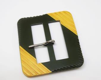Large Bakelite Two Toned Green Yellow Carved Belt Buckle Deco Bakelite Buckle