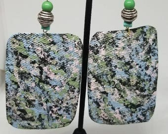 Large hand-painted square abstract earrings.