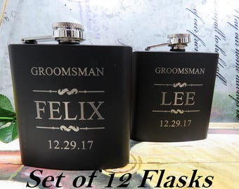 Laser Etched Flask - Bridal Party Flask - Groomsman Gift - Wedding Party Gift - Best Man Gift - Black Flask - Gift Flask - Wedding Flask