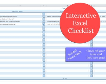 Excel Checklist | Excel Interactive Blank Checklist | Task List | To-Do List | Excel Download