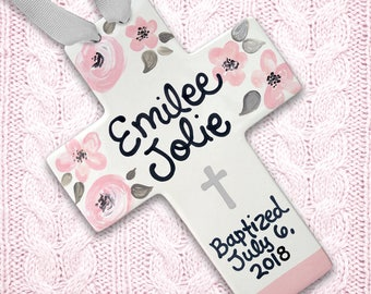 Cross for Baptism - Personalized Baptism Cross - Pink Blush and Gray - Baptism Gift Girl - Girl Baptism Gift Godparents