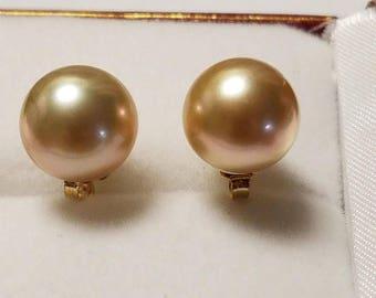 14k golden south sea pearl earrings