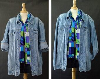 90s Oversized Denim Jean Jacket, Unisex Size Extra Large Jeant, 90s Urban Style, 90 Grunge, Designer Brand Denim Coat, White Washed Denim