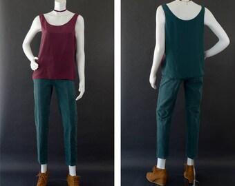 Vintage Tank Top, 90s Colorblock Blouse, Sleeveless Reversible Shirt, Minimalist Basic Shirt, 90s Tank Top Two Tone, Women's Size Medium