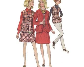 "1960's Mini Skirt, Regular Length Skirt, Jacket and Sleeveless Jacket Sewing Pattern Junior Size 11 Bust 33 1/2"" Vintage Simplicity 7794"
