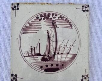 Antique Delft Manganese Dutch Landscape Tile