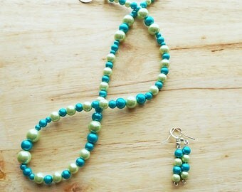 Faux Blue and Pale Green Pearl Set