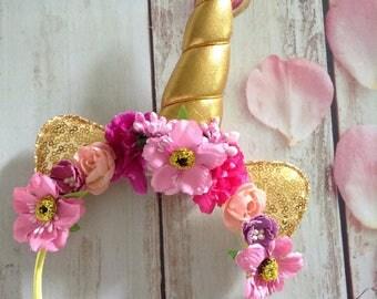 Unicorn Couture Party Headband-photo prop,Flower headband,unicorn,unicorn girls birthday party