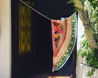 Crochet shawl wrap shawl ibizastyle blijetsola polleviewrap flowers scarf freestyle crochet
