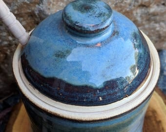 Honey Pot, Jam Jar, Ceramic, Blue, Handmade